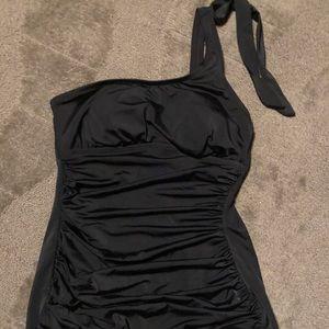 One Piece Swimsuit One Shoulder Black Retro